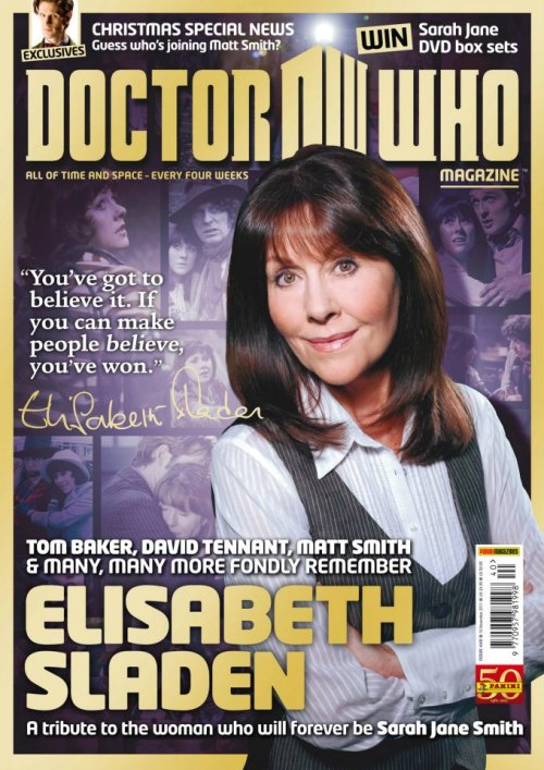 Doctor Who Magazine 440 pays tribute to Elizabeth Sladen The new, 100-page issue of Doctor Who Magazine is out and celebrates the life of Elisabeth Sladen, who died earlier this year. Among those tributes from friends, family and colleagues are my interviews with Doctors Tom Baker, David Tennant, and Matt Smith. Click through for exclusive audio clips from those interviews. via benjamincook.net