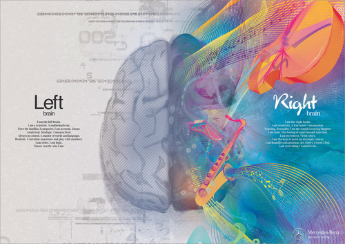 Neat Mercedes Benz advertisement! Are YOU right brain or left brain?