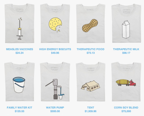 "UNICEF + Threadless = good cause, good shirts (prices may vary) Wearing your support: Pretty neat idea hatched between the folks at UNICEF and Threadless — you can now throw down for one of these rather charmingly minimalist t-shirts, and your money goes straight to African aid efforts. As you may have noticed, some of these shirts are hyper-expensive (not pictured, a $300,000 ""cargo plane"" shirt), which is because the amount you pay equals the cost of the sort of aid effort pictured. It's a very cool and worthy example of humanitarian relief meeting up with design. source Follow ShortFormBlog"