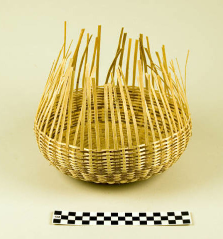 Mary Day, ash splint basket, Oshkosh, Wisconsin. Basketmaking is another form of weaving without a loom. According to the records of the Logan Museum, basketmaker Mary Day was a member of the Potawatomi Nation in Oshkosh who learned the traditional craft of black ash splint basketry from her Ho-Chunk mother-in-law. via: Logan Museum of Anthropology, Beloit College see more: Photographs and oral history of the basketmaking process, from the Ho-Chunk Department of Heritage Preservation via Mississippi Valley Archaeology Center at UW-La Crosse.