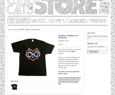 I so desperately want this shirt.  It costs about 35 dollars, then shipping from France to the States will be 20 dollars in itself! So much money. But it's so amazing, I need it in my closet and on my person. Besides, all the profits go toward Mehdi's family, so it would be absolutely worth it and money well spent.