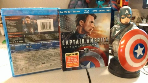 agentmlovestacos:  I got my copy of Captain America: The First Avenger today! (Statue not included—it's a Bowen Designs piece I got at Comic-Con.) Have you gotten your copy yet?  Got cap
