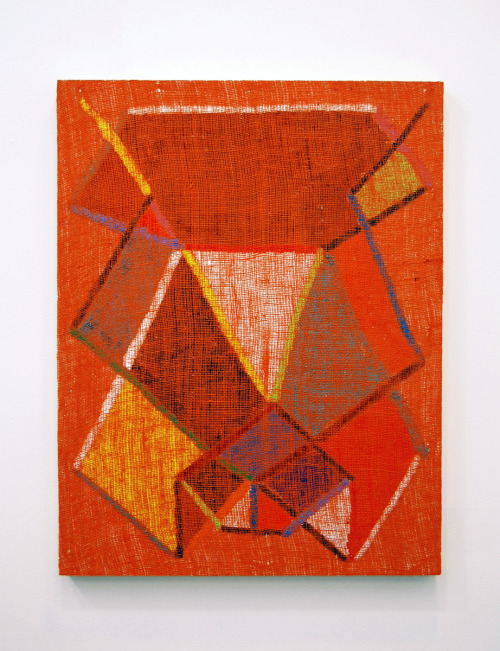 Evan Nesbit Head stand, 2011 acrylic and burlap on panel 24 x 31 inches