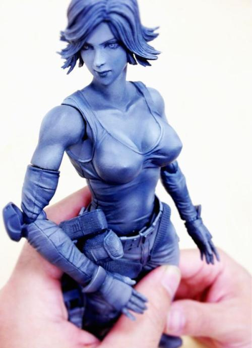 "Prototype Meryl Figurine … Wow! Hideo Kojima, creator of the Metal Gear series, has released this photo via his Twitter account.  It's a figurine, by Play Arts Kai, of Meryl (Metal Gear Solid/Guns of the Patriots) in her prime; and by ""prime"" I'm talking about her physique. Marcus Vega-Eisenhart // Super PolyPixel"