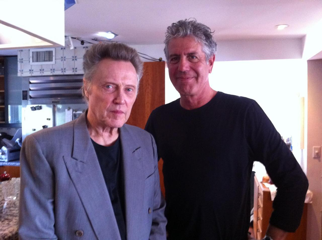 This is so great. awesomepeoplehangingouttogether:  Christopher Walken & Anthony Bourdain (photo by Helen Cho)