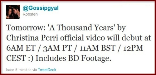 "TOMORROW: EXCLUSIVE VIDEO RELEASE OF "" A THOUSAND YEARS"" #BREAKINGDAWN"