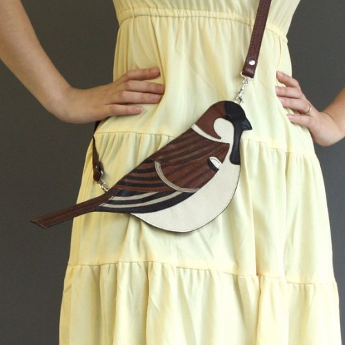 (via Leather Sparrow Clutch Bag by broundoor on Etsy)