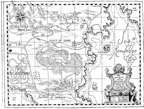 Map of The Lands Beyond drawn by Jules Pfeiffer, in The Phantom Tollbooth by Norton Juster