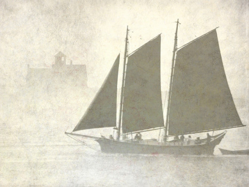 sunnehh:  Schooner off Kittery in the fog, with added texture by nelights on Flickr.