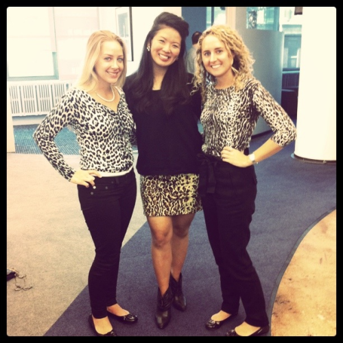 Apparently today, in my office, was wear leopard day! Photo of my teammates Drew, Kristie and I looking purr-fect.