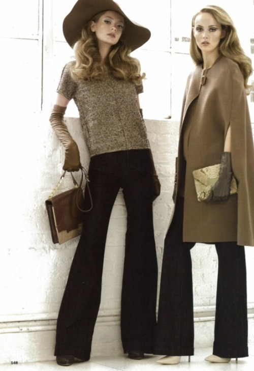 emariam:  Far Left, Jeans: J.BrandTweed Top: AlbinoShoes: CasadeiHat, gloves & bag: Lanvin Right, Jean: Old NavyWool cape: LanvinShoes: CasadeiPython Clutch: Michael KorsGloves: Portolano