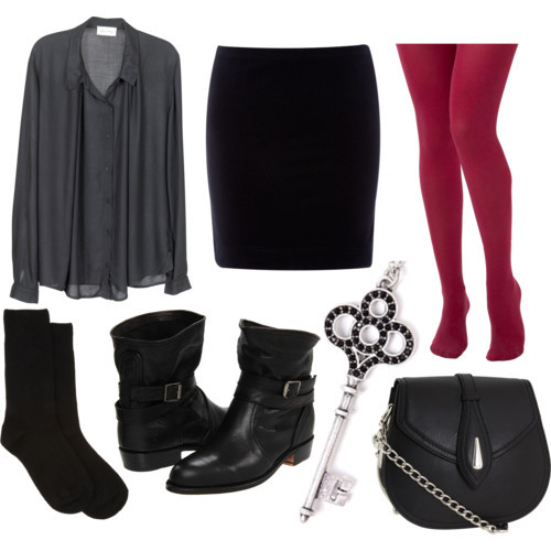Today's Outfit by jemennuie featuring a mini skirtCrew socks, $45Rose tight, $15Mini skirt, £6.40Frye short leather boots, $398Alexander McQueen shoulder handbag, $3,195Metal necklace, €33
