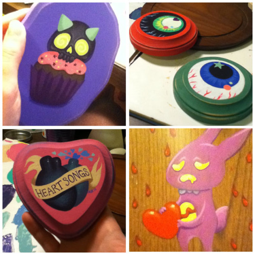 Some mini paintings I've been working on for my etsy and for my (first!) craft fair! Mini paintings are so much fun, and so much less stressful! ©Allison Bamcat