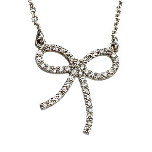 "Forget Me Not - Diamond Bow Necklace* Folklore suggests that when you want to remember something, tie a bow on your finger and you will. Rest assured you'll never forget the reasons behind this beautiful bow necklace. 47 round cut, perfectly matched, brilliant shine, white diamonds make up the dainty 1/4 carat bow. (*click through the picture for prices and shopping cart) Think things are prettier in pink? The bow can also be made with pink sapphires.  The bow measures about 3/4"" wide by 3/4"" tall. Choose either white gold or platinum setting.  Formal enough for date night but can be perfectly paired with a t-shirt and jeans too. Wear it everyday. Shop now :-)"