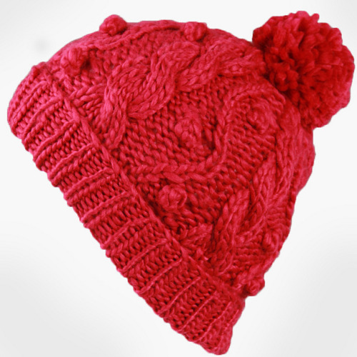 a_Women's Handmade Cable Beanie With Pompon-Red_01 on Flickr.reblog and get 10% OFF from www.masslandstyle.com, cheers!