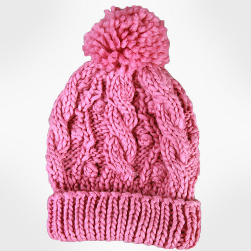 a_Women's Handmade Cable Beanie With Pompon-Pink_02 on Flickr.reblog and get 10% OFF from www.masslandstyle.com, cheers!