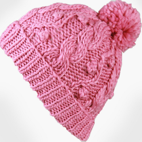 a_Women's Handmade Cable Beanie With Pompon-Pink_01 on Flickr.reblog and get 10% OFF from www.masslandstyle.com, cheers!
