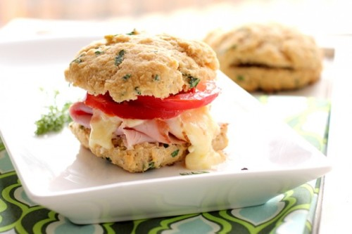 Breakfast sandwich on herbed biscuit.