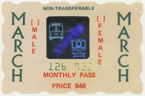 A March 1987 CTA (Chicago Transit Authority) Monthly Pass from the collection of Katrina Petrauskas. Katrina's collection of twenty-eight vintage CTA passes that belonged to her late uncle will be included as part of Public Collectors' participation in the exhibition  Archival Impulse at   Gallery 400 at University of Illinois at Chicago (400 S. Peoria). The   show runs from November 4 - December 17, 2011.