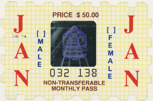 A January 1989 CTA (Chicago Transit Authority) Monthly Pass from the  collection of Katrina Petrauskas. Katrina's collection of twenty-eight  vintage CTA passes that belonged to her late uncle will be included as  part of Public Collectors' participation in the exhibition  Archival Impulse at   Gallery 400 at University of Illinois at Chicago (400 S. Peoria). The   show runs from November 4 - December 17, 2011.