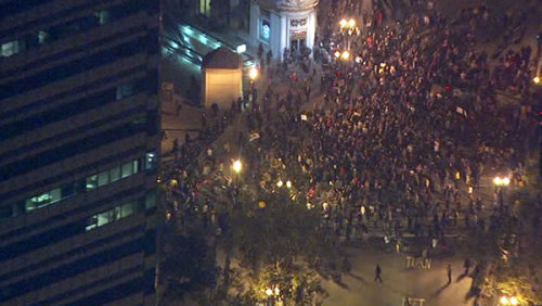 occupywallstreet:  Thousands gathered in front of Oakland's City Hall this evening in response to last night's violent police invasion and destruction of Occupy Oakland's camp. Tonight, police have again used tear gas, flash grenades and rubber bullets to forcefully disperse the lawful assembly by Oaklanders. Some injuries have been reported. We will have more information as it becomes available. At this time, this appears to be the most violent police attack on protestors since the Occupy movement began.