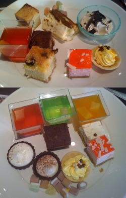 A selection of deserts I had at a restraunt, they looked so cute and they wer yummy, I had to have 2 plates of them, there wer mini cheesecakes and brownies, jelly and sweets, was soo nice!