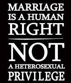 Marriage is a human right, not a heterosexual privilege.