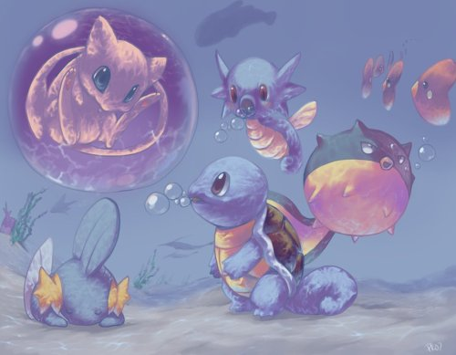 Mew and Water Pokemons