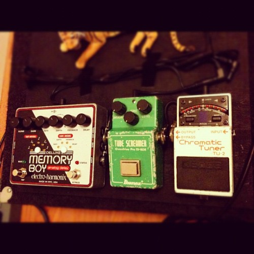I take this board with me to band practice, but the tube screamer is not mine; it's my friend's. My Boss SD-1 takes its place when I'm not borrowing it. The other board that I'm planning to use live only consists of an overdrive, distortion, and delay. These three pedals, and a tuner of course, seem to essentially be the only effects that I use, giving me a very pure and uncolored signal. Yes, the tiger is velcro'd to the board as well. (Taken with instagram)