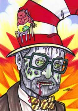 "Here's my Dr. Seuss zombification, ""Green Eggs and Brains!""  I'm posting zombie portraits of stars off the Hollywood Walk of Fame for my series, Zombie Walk of Fame which I'm coloring this week as we count down to Halloween.  Check the feed daily for new celebrity zombies through Halloween night by Clicking HERE!"