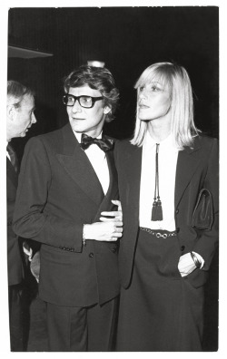 oystermag:  Betty Catroux and Yves Saint Laurent at a party as featured in Oyster #95 Images courtesy of Foundation Pierre Bergé- Yves Saint Laurent