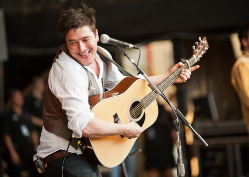 Marcus Mumford is all smiles at the 25th Annual Bridge School Benefit in Mountain View California. Photo © Meghan Brosnan.