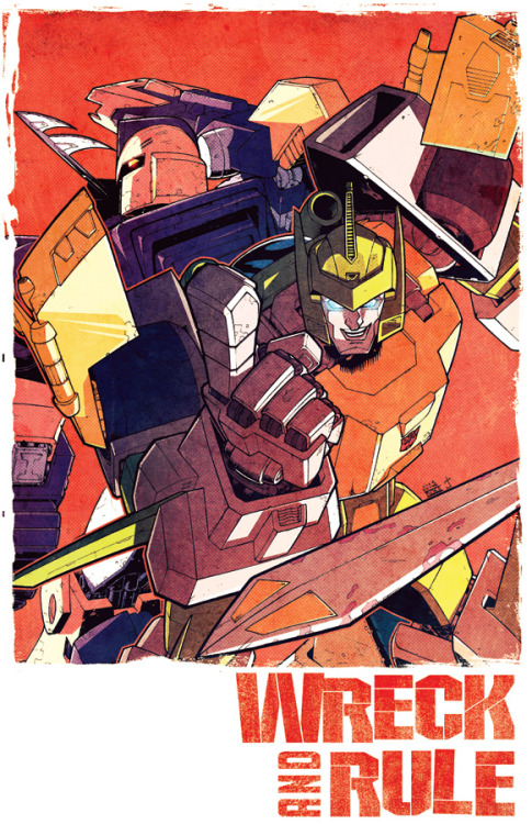 One of two Last Stand of the Wreckers prints inked by Nick Roche and colored by Josh Burcham for Auto Assembly '11