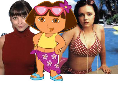 It was surprisingly difficult to find a photo of Christina Ricci that wasn't creepy-sexy.  I mean that chick is probably 110 pounds and 50 of them are her boobs.  Just sayin'.  I personally find Dora the Explorer to be the most annoying migrant worker on the planet, yo.  Boots this.  Swiper that.  Shut the f-up.  Comprende?