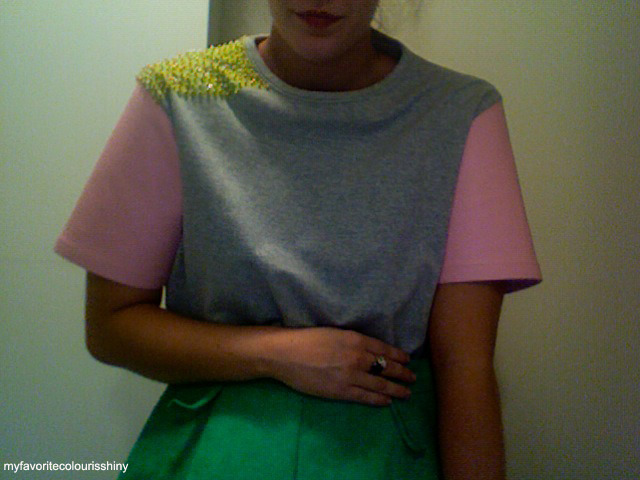 myfavoritecolourisshiny:  Self-made grey tee with pink kangaroo leather sleeves + yellow sequin embellishment that i'm working on at the moment, just to give the sporty aesthetic a luxe feel. Paired with self-made apple green, kangaroo suede quilted shorts.