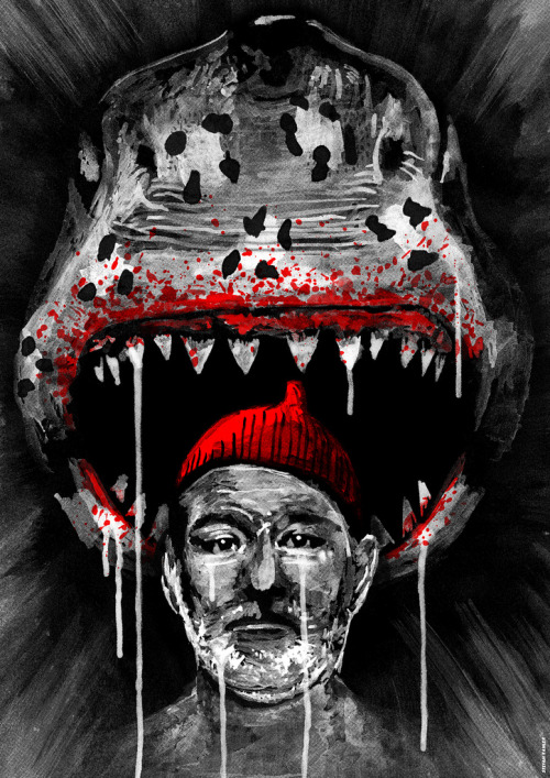 "xombiedirge:  Sharked by Stefan Fähler  16.5"" X 23.4"" Screenprint, edition of 60. Part of the upcoming Bad Dads 2 tribute art show to the films of Wes Anderson at Spoke Art."