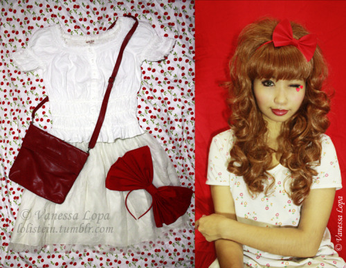 lolistein:  A touch of gyaru ♥ (10.26.11)A simple red and white coordinate for this week. I'm very fond of bows, and I've found that smaller bows can be just as awesome as huge ones. :)) The head-eater bow in the coord photo is more for loli, but if I pair this outfit with white tights and red stilettos, I could give it a more gyaru-ish feel. I think I can get away with both, yes? :P ————————————————- Photo credits: taken by Vanessa Lopa (me) ————————————————- Facebook || LOOKBOOK.nu || YouTube || Cosplay Blog || Who is Lolistein?