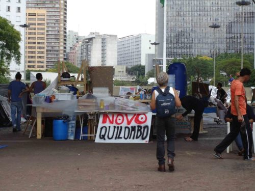 The Occupy São Paulo camp, under the Viaduto do Chá in downtown São Paulo yesterday morning.