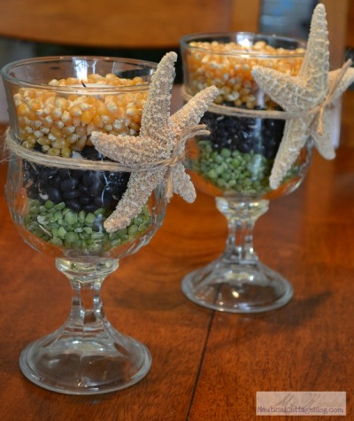 Great DIY Coastal Autumn Candle Holders !! http://nauticalcottageblog.com/2011/10/coastal-crafts-make-autumn-candle-holders/ (Sally Lee By the Sea)