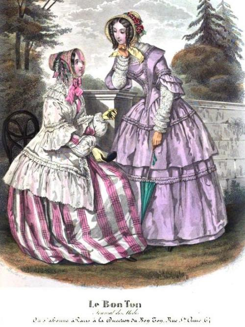 Lady's Magazine, 1849.  The fabric of the dress on the left is really stunning!