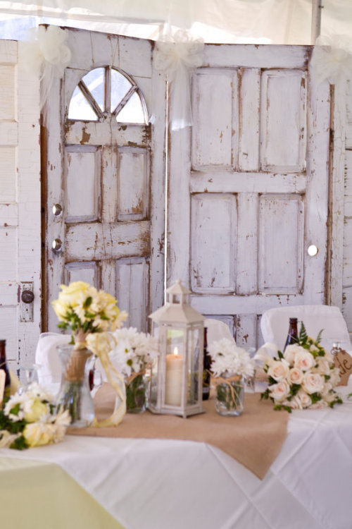 Shabby cottage style wedding decor for the reception (via Vintage Style Lantern by WeddingLanterns on Etsy)