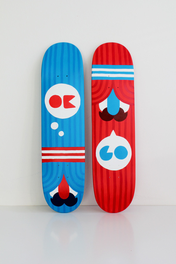 Finished 'OK/GO' set of decks i painted for the 'Popjugend shows Character' show at Blooom upcoming weekend.