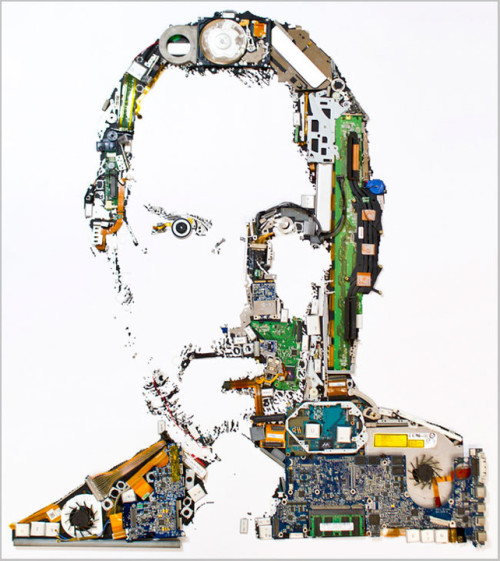 Ever since Steve Jobs died October 5, we've seen countless homages—some classier than others—but Genis Carreras's blows them all away: It's a portrait of Jobs built from the parts of a disassembled Apple laptop. Read more…