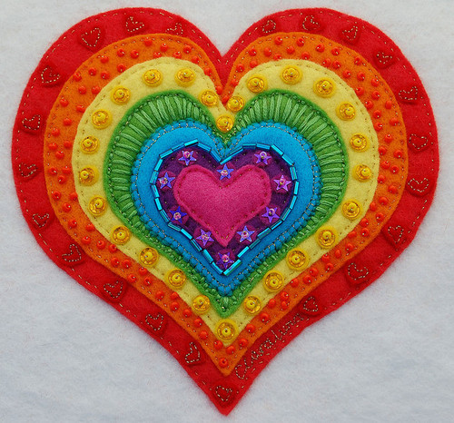 motleycrafter:  'Rainbow Heart' The final design ♥ | Flickr - Photo Sharing! on We Heart It. http://weheartit.com/entry/16632308