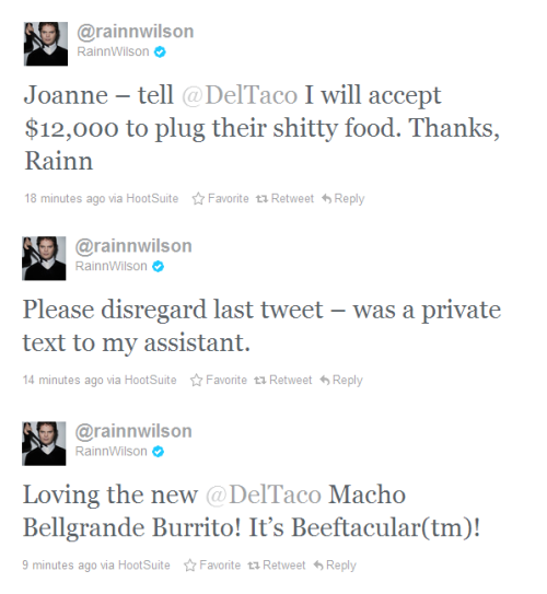 Rainn Wilson loves DelTaco  画
