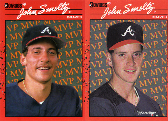 Sports card gaffe: John Smoltz is Tom Glavine, too.