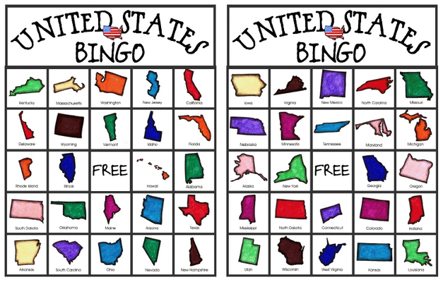 Free United States Bingo Game from Relentlessly Fun, Deceptively Educational. With six cards it is perfect for a small group activity.  #elemchat #sschact #spedchat #USABingo Freebie ***One way for a larger number of kids to play would be to conduct several small groups at a time. Kids love to be the caller so they would probably like this. Just print out six cards for each group. Added to  Classroom Printables LiveBinder You may also like… Statetris Personal Education Press DLTK Custom Bingo Behavior Bingo (I tried a slightly modified version of this and it was voted 2 thumbs up by the students and myself. Worked really well.)