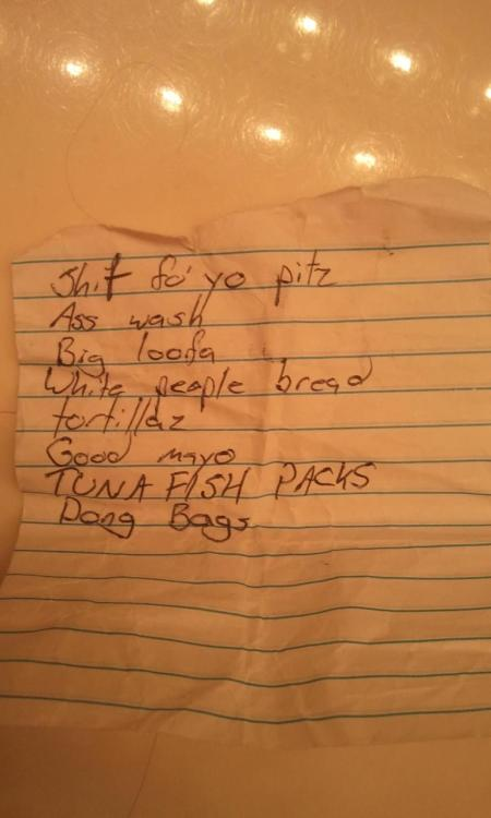 pleatedjeans:  shopping list found at Wal-Mart. From now on, I will only be referring to condoms as 'dong bags.' via
