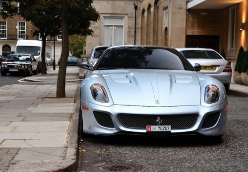 Ferrari 599 GTO in light blue color. Photo by Thomas Mein.