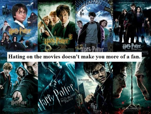 harrypotterconfessions:  Real fans love both, regardless of the differences. graphic submitted.